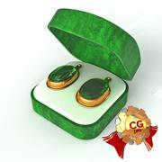 Emerald Earrings 3d model