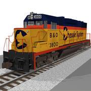 Train Engine: Chessie System GP38: C4D Model 3d model