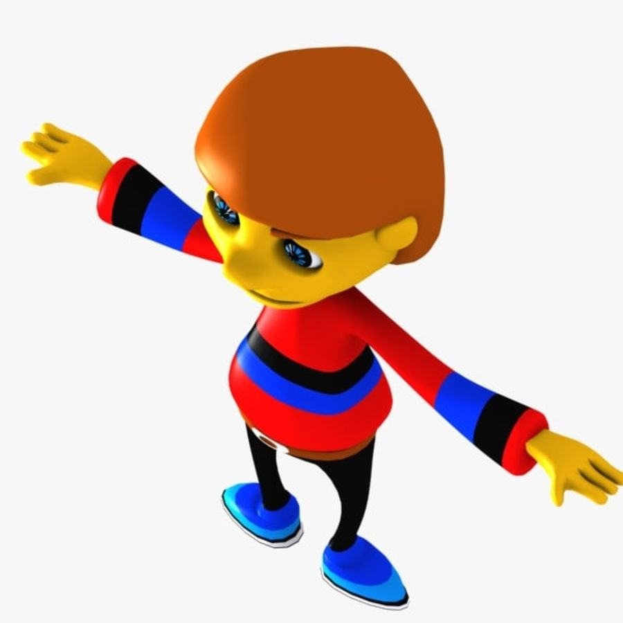 Cartoon Boy Character royalty-free 3d model - Preview no. 5