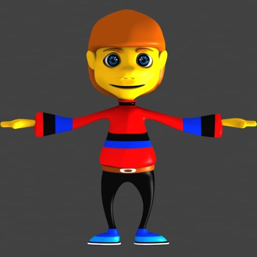 Cartoon Boy Character royalty-free 3d model - Preview no. 2