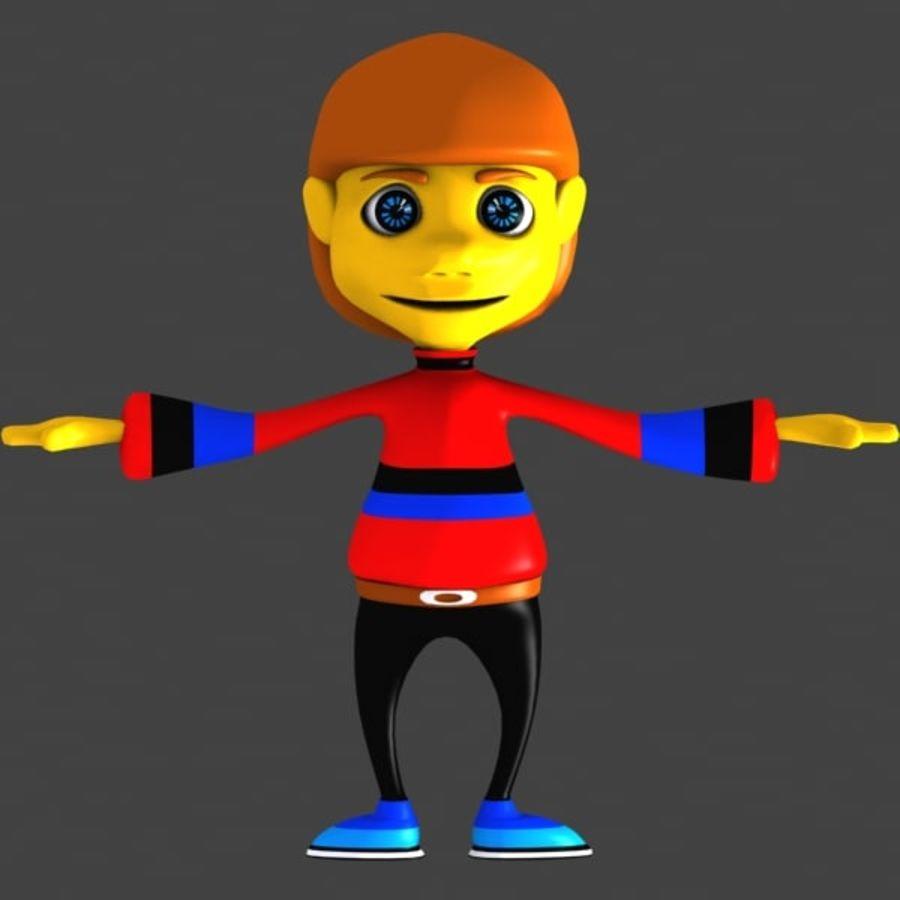 Tecknad pojke karaktär royalty-free 3d model - Preview no. 2