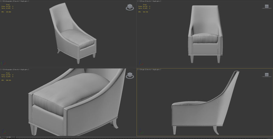 椅子-i3dbox royalty-free 3d model - Preview no. 7