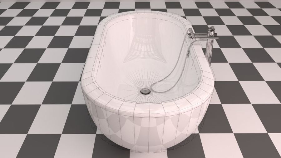 Badewanne royalty-free 3d model - Preview no. 14