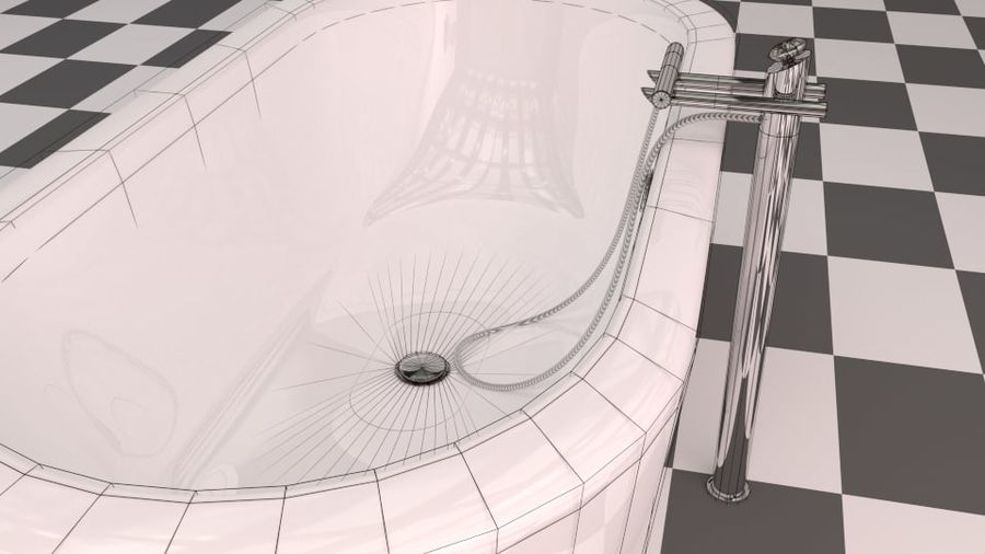 Badewanne royalty-free 3d model - Preview no. 12