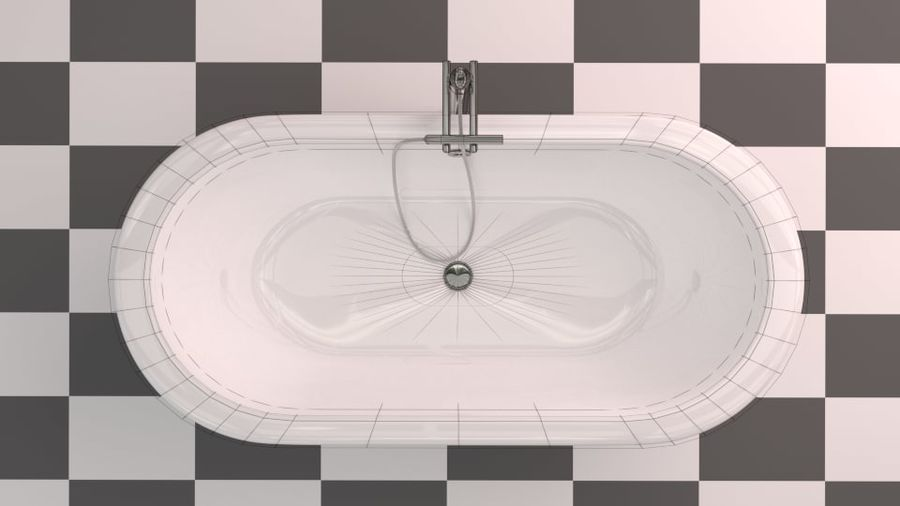 Badewanne royalty-free 3d model - Preview no. 15