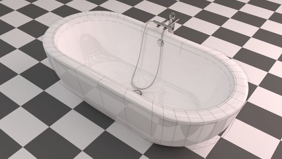 Badewanne royalty-free 3d model - Preview no. 11