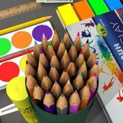 学校工具 3d model