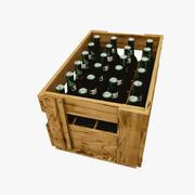 Деревянный ящик для пива с пивом 3d model