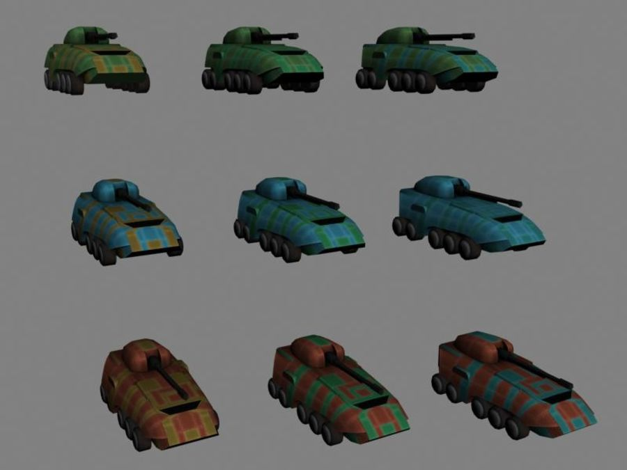 Lowpoly Scifi Military Vehicles Pack royalty-free 3d model - Preview no. 30