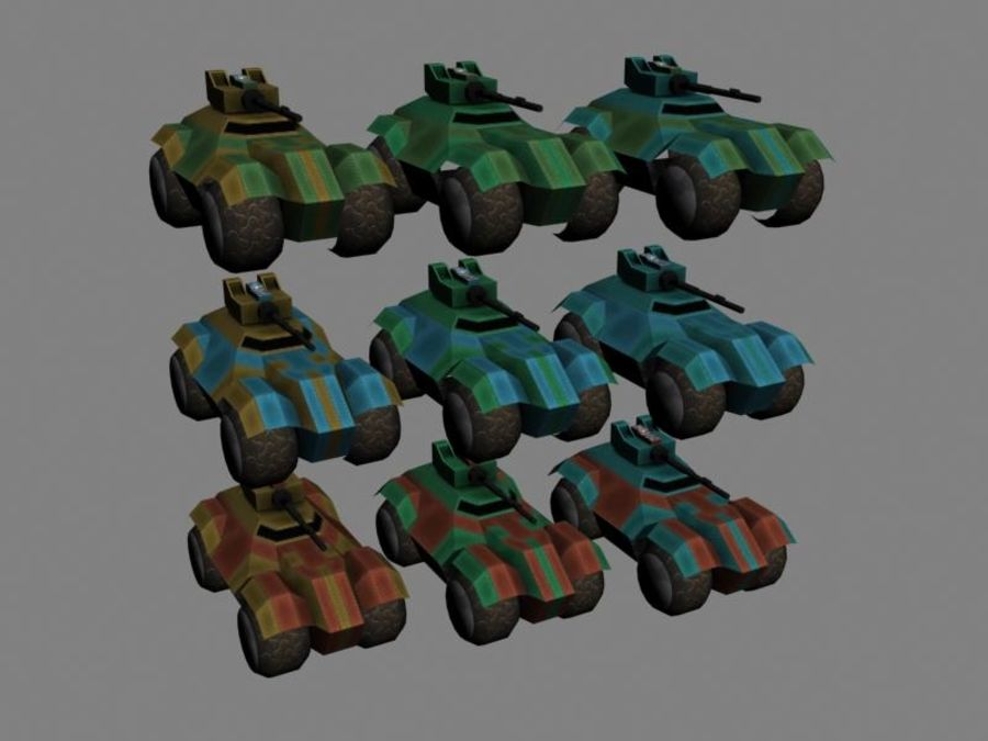Lowpoly Scifi Military Vehicles Pack royalty-free 3d model - Preview no. 5