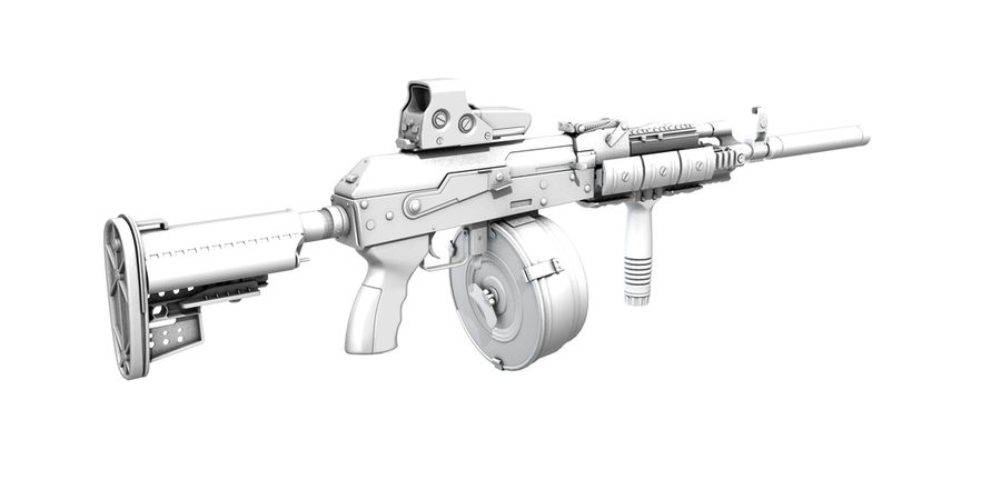 AK-47 personalizzato royalty-free 3d model - Preview no. 11