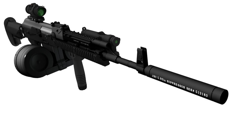 AK-47 personalizzato royalty-free 3d model - Preview no. 3