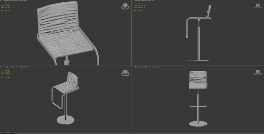 barstol royalty-free 3d model - Preview no. 8