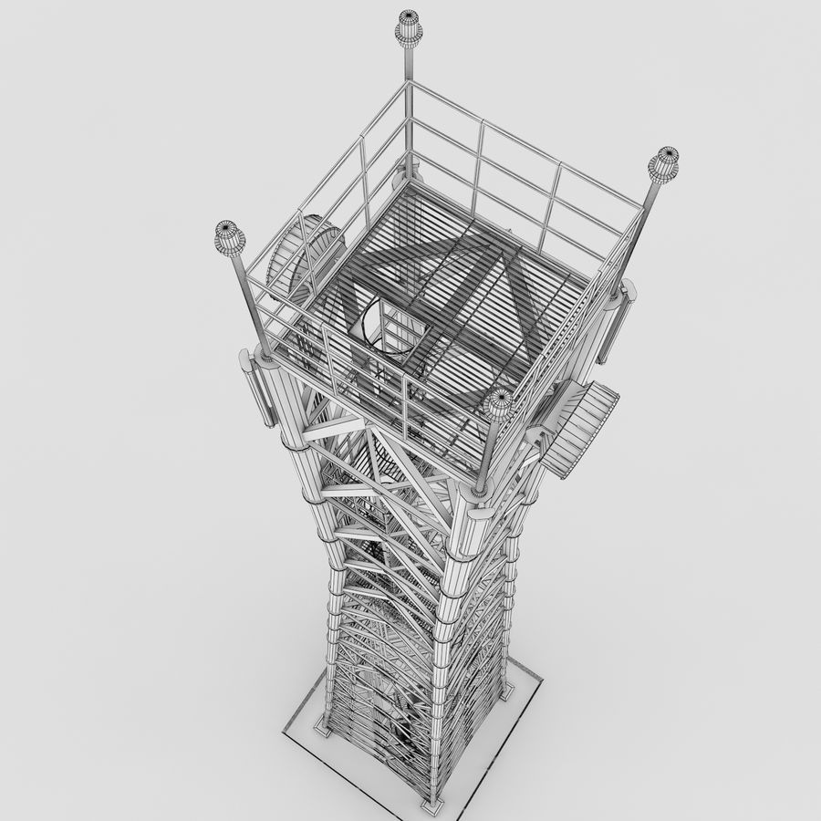 Fernmeldeturm royalty-free 3d model - Preview no. 9
