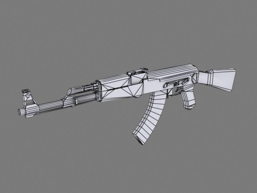 Rifle AK47 lowpoly royalty-free 3d model - Preview no. 4
