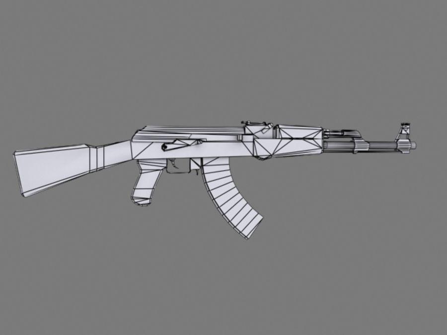 Rifle AK47 lowpoly royalty-free 3d model - Preview no. 5