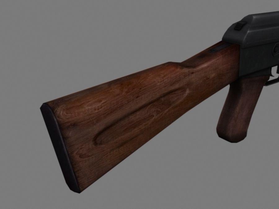 Rifle AK47 lowpoly royalty-free 3d model - Preview no. 7