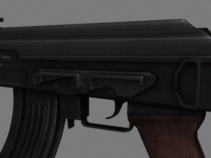 Rifle AK47 lowpoly royalty-free 3d model - Preview no. 3
