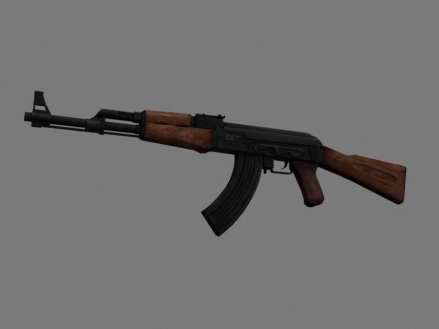 Rifle AK47 lowpoly royalty-free 3d model - Preview no. 1
