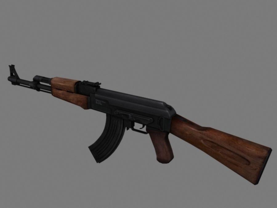 Rifle AK47 lowpoly royalty-free 3d model - Preview no. 2