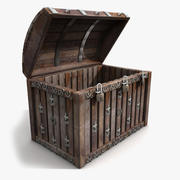 Wood Chest Trunk Silver Metal 3d model