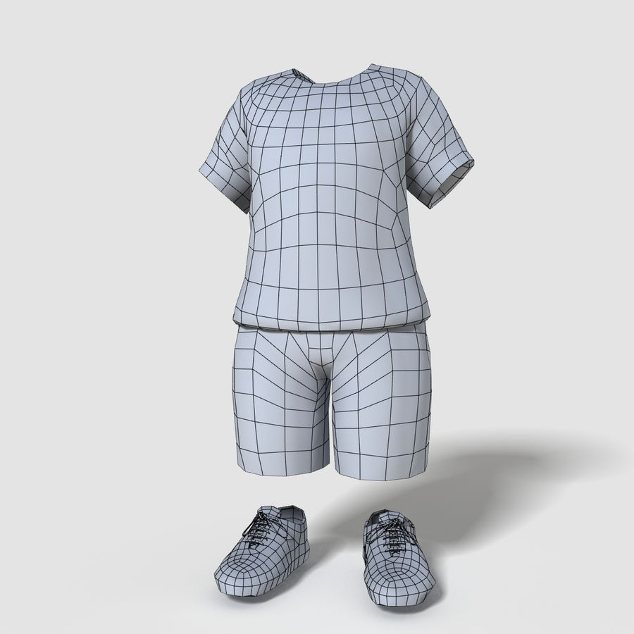 Realistic Child Boy Outfit royalty-free 3d model - Preview no. 6