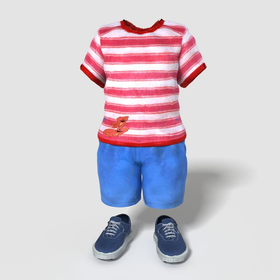Realistic Child Boy Outfit royalty-free 3d model - Preview no. 1