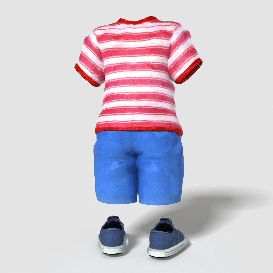 Realistic Child Boy Outfit royalty-free 3d model - Preview no. 2