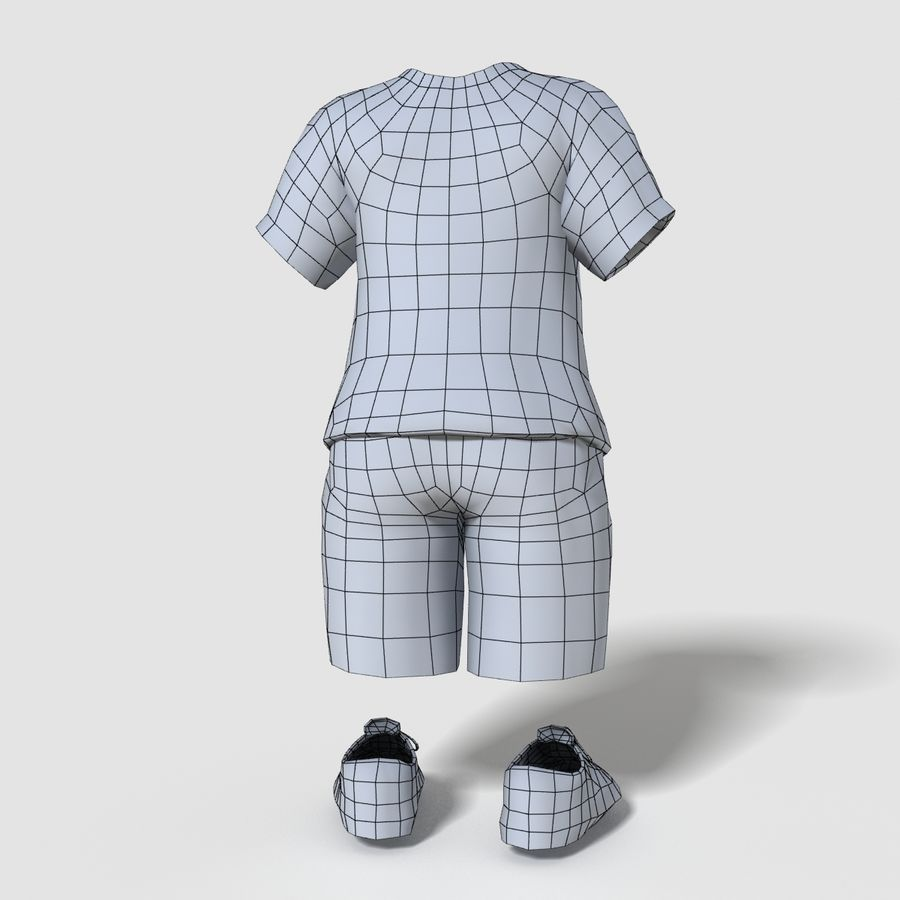 Realistic Child Boy Outfit royalty-free 3d model - Preview no. 7