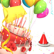 Birthday cake with balloons 3d model
