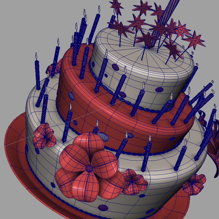 Birthday cake with balloons royalty-free 3d model - Preview no. 5