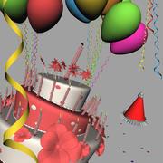 Torta di compleanno con palloncini 3d model