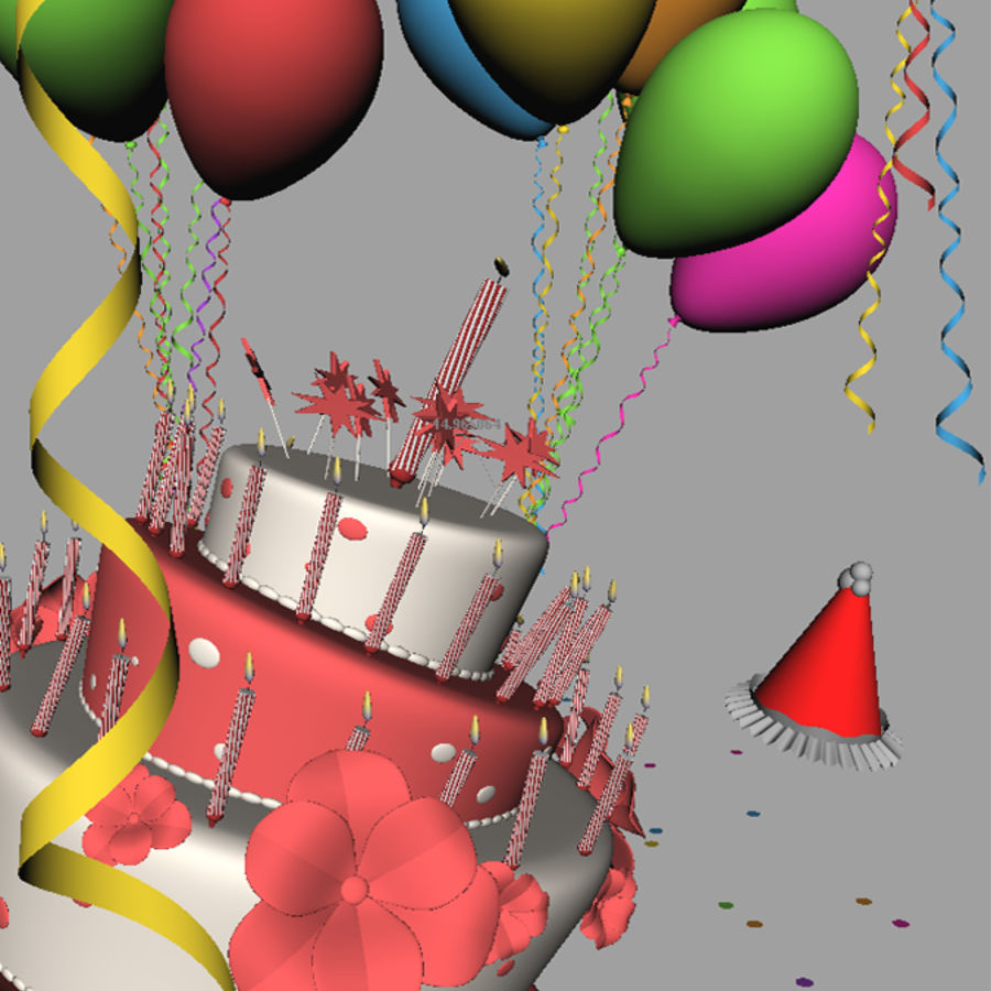 Birthday cake with balloons royalty-free 3d model - Preview no. 1