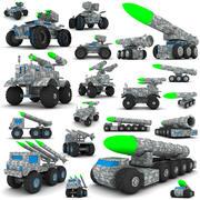 Деревянная коллекция игрушек для военных транспортных средств 3d model