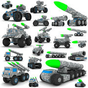 Träleksakssamling för militära fordon 3d model