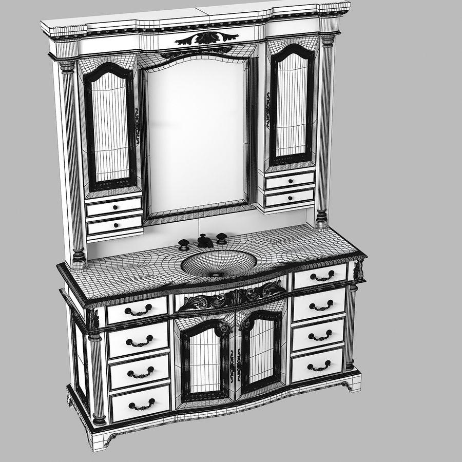 Domowa szafka pod umywalkę Ambella z podświetlanym lustrem Hutch royalty-free 3d model - Preview no. 7