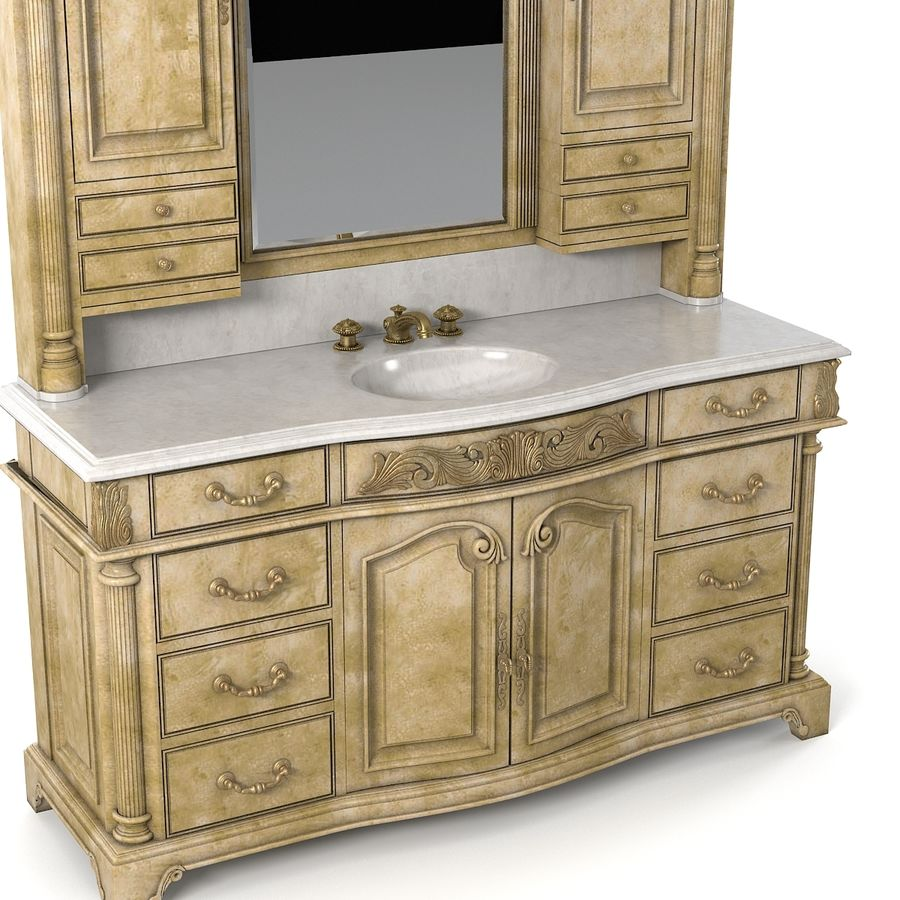 Domowa szafka pod umywalkę Ambella z podświetlanym lustrem Hutch royalty-free 3d model - Preview no. 4
