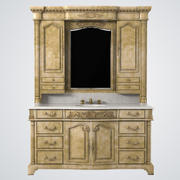 Ambella Home Monticello Sink Chest with Lighted Hutch Mirror 3d model