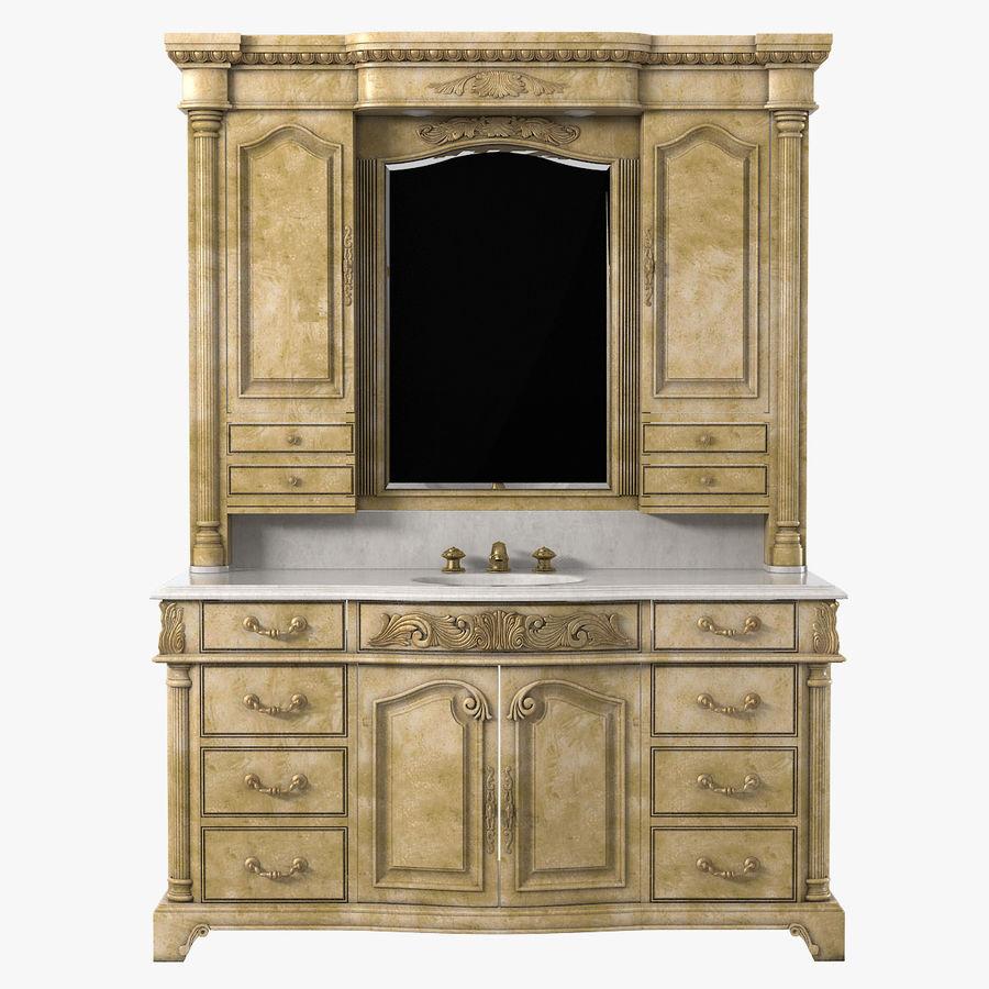 Domowa szafka pod umywalkę Ambella z podświetlanym lustrem Hutch royalty-free 3d model - Preview no. 1