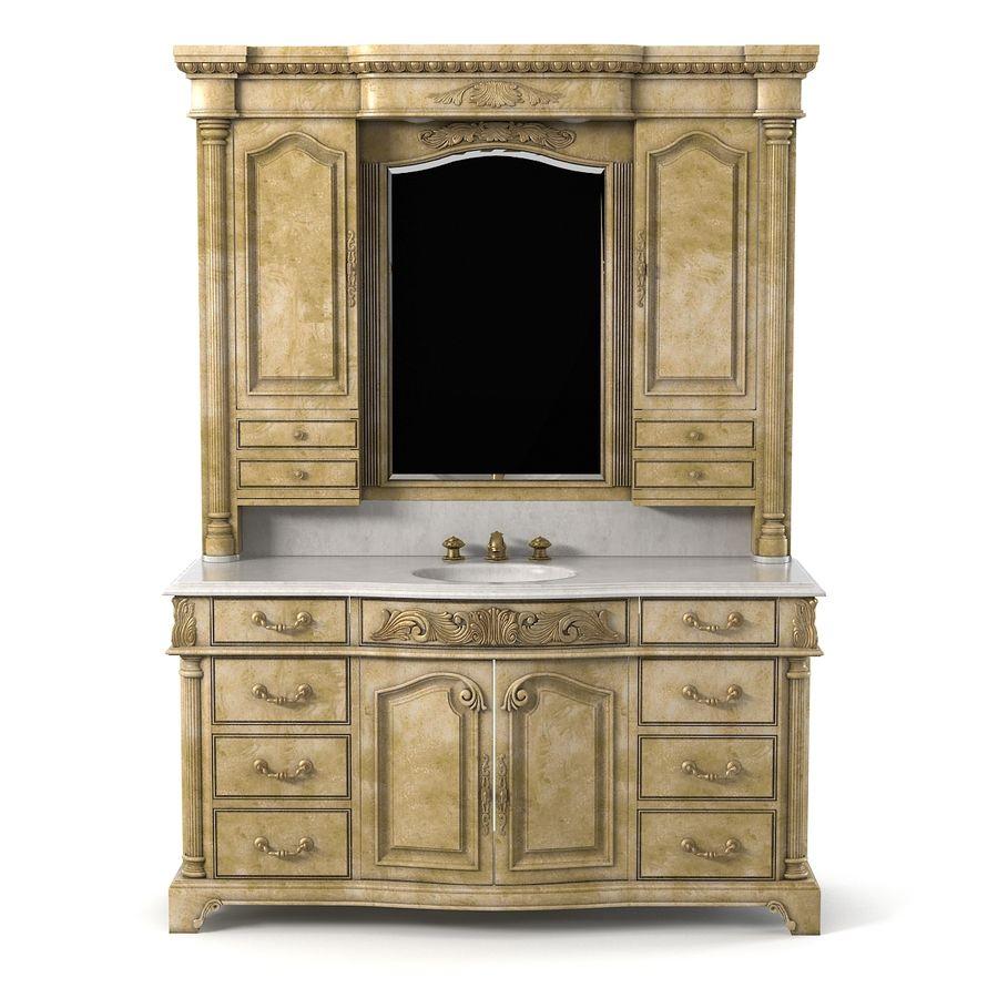 Domowa szafka pod umywalkę Ambella z podświetlanym lustrem Hutch royalty-free 3d model - Preview no. 3