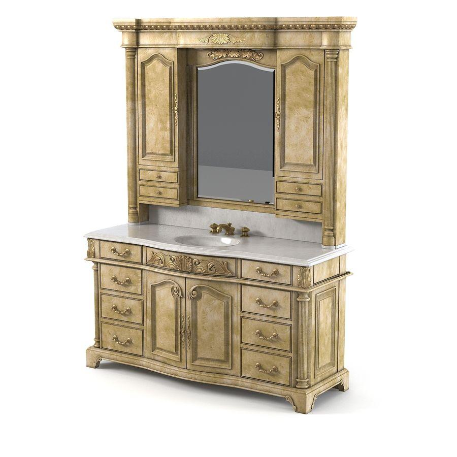 Domowa szafka pod umywalkę Ambella z podświetlanym lustrem Hutch royalty-free 3d model - Preview no. 5