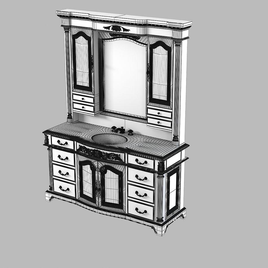 Domowa szafka pod umywalkę Ambella z podświetlanym lustrem Hutch royalty-free 3d model - Preview no. 6