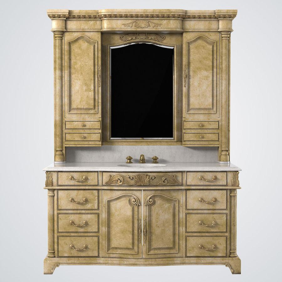 Domowa szafka pod umywalkę Ambella z podświetlanym lustrem Hutch royalty-free 3d model - Preview no. 2