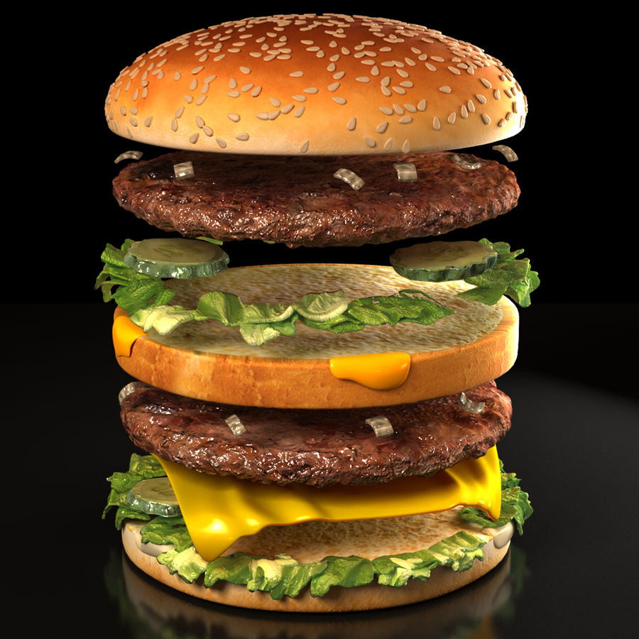 Hamburguesa royalty-free modelo 3d - Preview no. 3