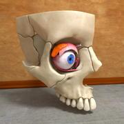 Olho humano na anatomia do crânio músculos ossos nervosos 3d model