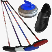 Collection d'équipement de curling 3d model