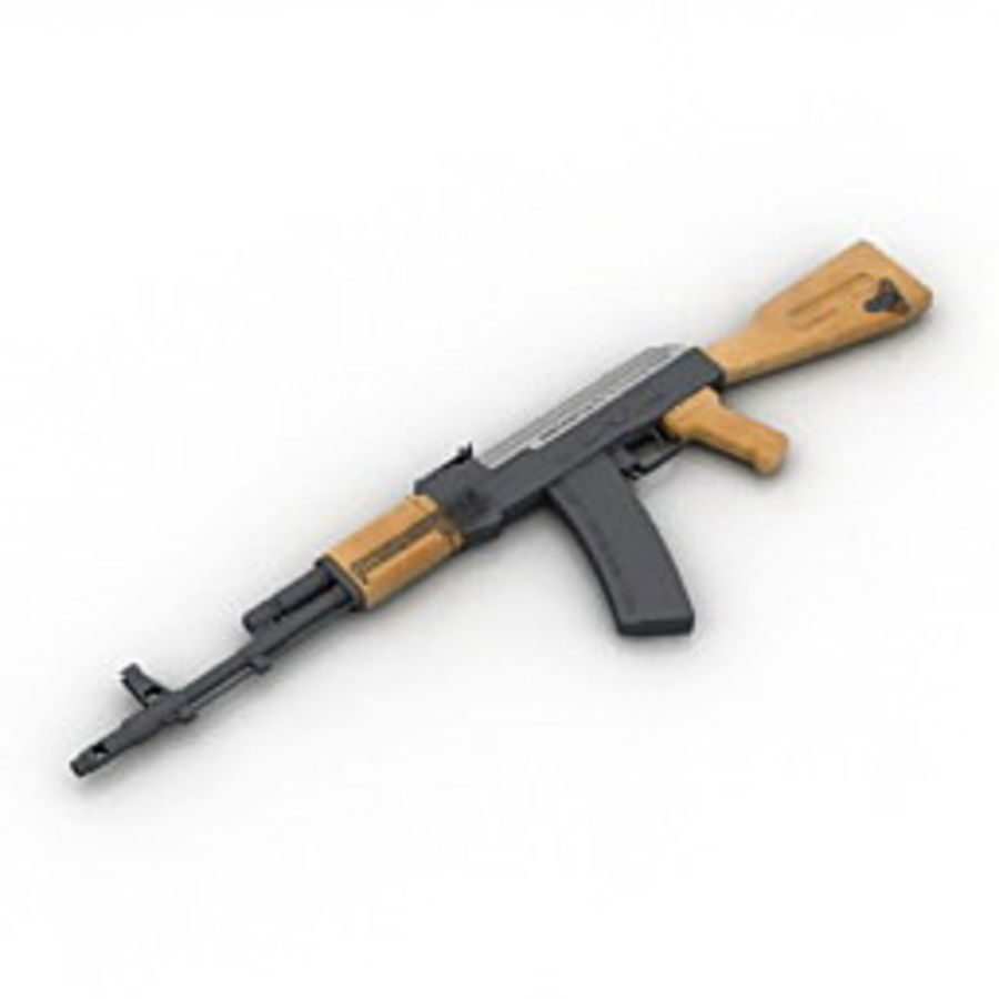 枪AK-47 royalty-free 3d model - Preview no. 4