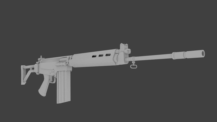 FN FAL royalty-free 3d model - Preview no. 1