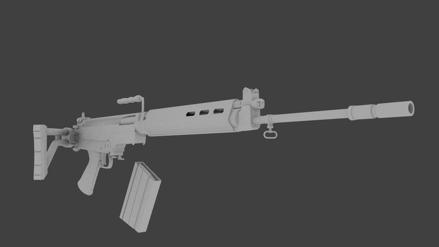FN FAL royalty-free 3d model - Preview no. 2