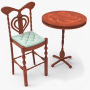 Tafel en barkruk set 3d model